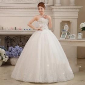 披露宴 ワンピース パーティー 結婚式 同窓会 花嫁 プリンセスライン ウエディングドレス ブライダル 冠婚 ノースリーブ 刺繍 エレガンス