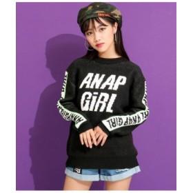 (ANAP GiRL/アナップガール)ラインロゴニットトップス/レディース ブラック