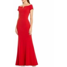 カルバンクライン レディース ワンピース トップス Crepe Off-The-Shoulder Notch V-Neckline A-Line Gown Red