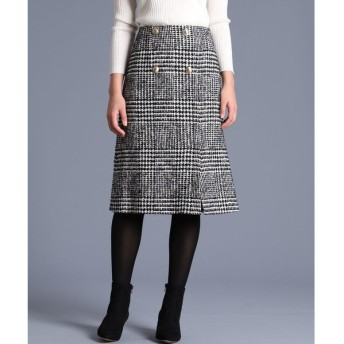 ef-de L / 《大きいサイズ》ボタンデザインチェック柄スカート《Maglie par ef-de》