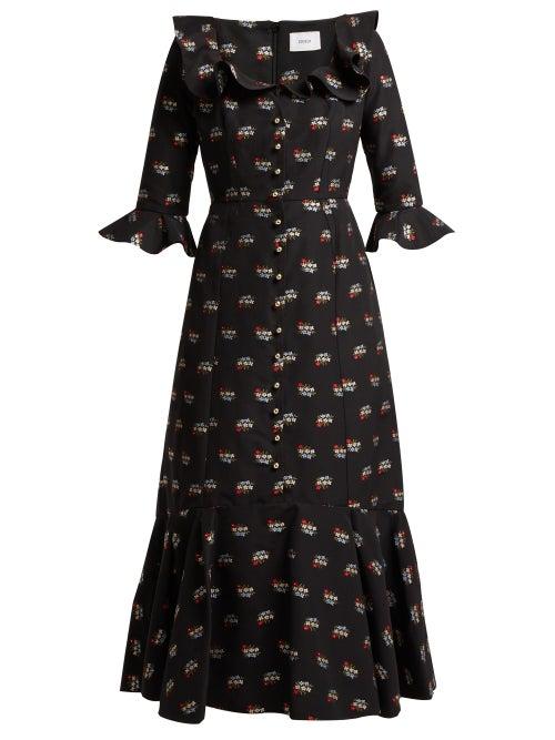 Erdem - Opaline Ottman Fil-coupé Coton-blend Midi Dress - Womens - Black Multi