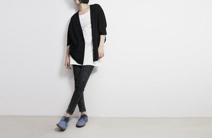 I . A . N Design 連袖罩衫小外套 (黑色/白色) Organic Cotton