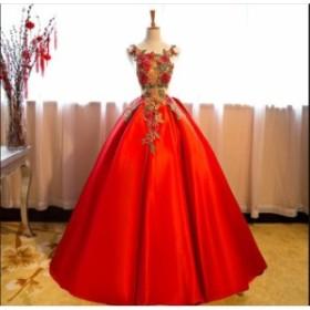 ノースリーブ 花柄 手作り 結婚式 花嫁 パーティードレス プリンセスライン 素敵 ウエディングドレス ブ ライダル ワンピース 冠婚 ロン