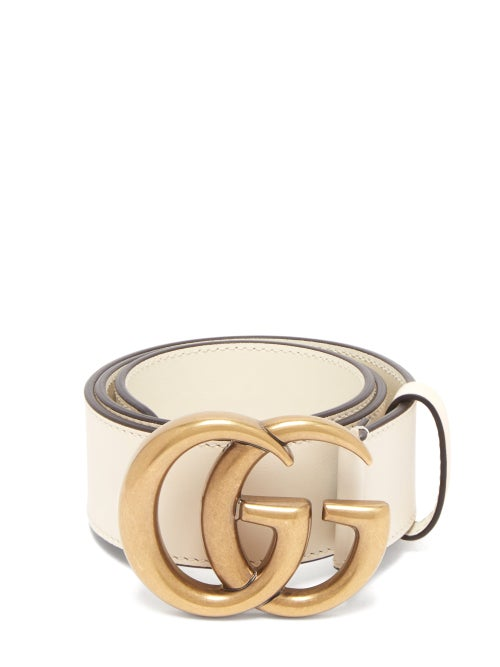 Gucci - GG-logo Leather Belt - Womens - White