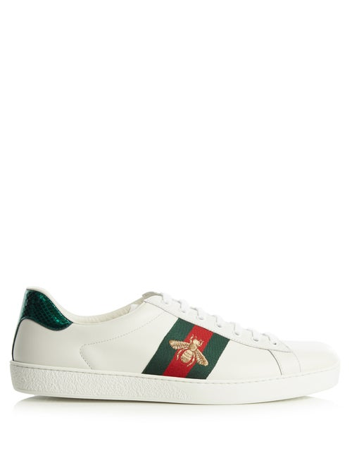 Gucci - Ace Bee-embroidered Low-top Leather Trainers - Womens - White