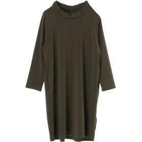 BLESS INTERNATIONAL 衿シャーリングチュニック チュニック・ロングシャツ,カーキ