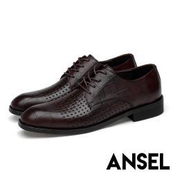 【Ansel】全真皮頭層牛皮質感壓紋編織拼接透氣紳士休閒鞋 棕