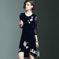 最水-氣質優雅繡花拼接網紗袖洋裝