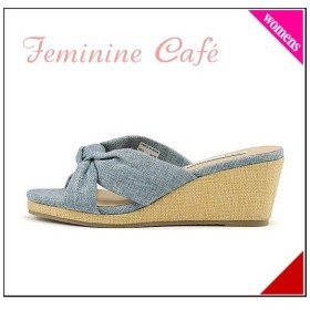ミュール サンダル ウェッジソール レディース 結びリボント フェミニンカフェ Feminine Cafe 11249 ブルー