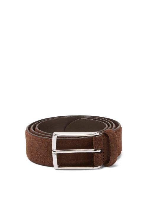 Anderson's - Buckled Suede Belt - Mens - Dark Brown