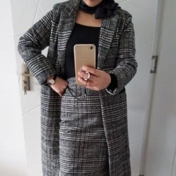 セットアップ ドレス タイトスカート ミディアム丈 レディース チェック柄 ウール 長袖 ハイウエストスカート エレガント お呼ばれ