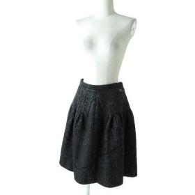 美品◇正規品 CHANEL シャネル P43555 ココマーク付 ツイードスカート フレアスカート ブラック 黒 レディース 42 フランス製 可愛さ◎