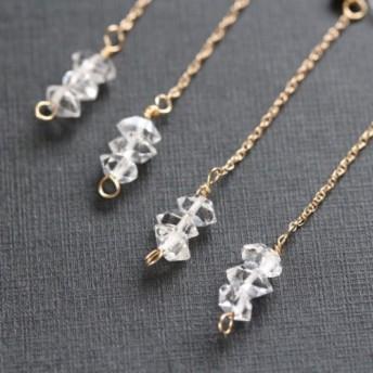14kgf ハーキマーダイヤモンドのチェーンピアス