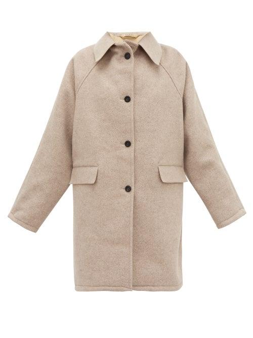 Kassl Editions - Raglan-sleeve Felted-wool Coat - Womens - Beige