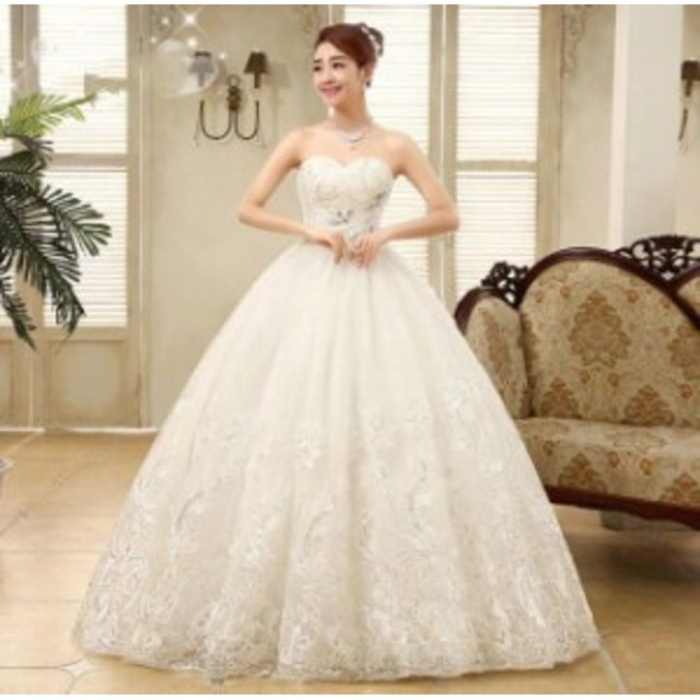 パーティードレス  プリンセスライン 素敵 手作り セール 人気 結婚式 花嫁 ウエディングドレス ブライダル ワンピース 冠婚 ロング丈 綺