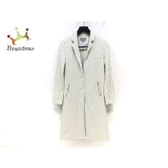 イーブス YEVS コート レディース 白×黒 ストライプ/春・秋物   スペシャル特価 20200218