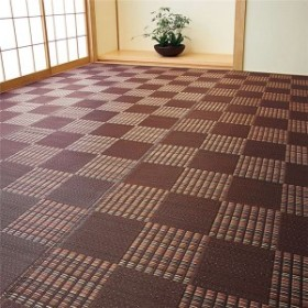 い草風 ラグマット/絨毯 【ブラウン 江戸間2畳 174cm×174cm】 日本製 ポリプロピレン製 〔リビング〕