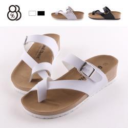 【88%】拖鞋-前2 後4.5cm MIT台灣製 皮質鞋面 簡約純色套趾 厚底楔型拖鞋