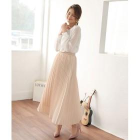 ドゥー ベル Doux Belle 揺れる裾が美しいプリーツスカートロングマキシ (グレージュ)