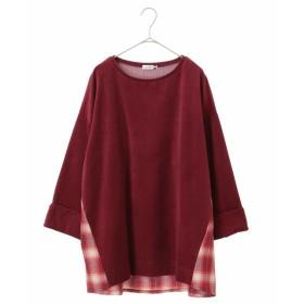 eur3 【大きいサイズ】コーデュロイ切り替えカットソー Tシャツ・カットソー,パープル