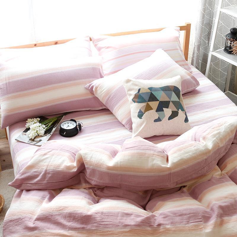 風通二重紗被套床包組 雙人標準5尺 (九款可選) 藏格_棕