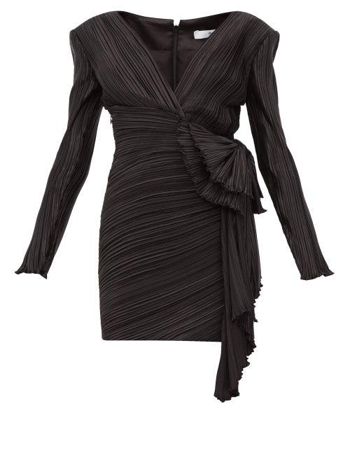 Givenchy - Bow-embellished Plissé-satin Mini Dress - Womens - Black