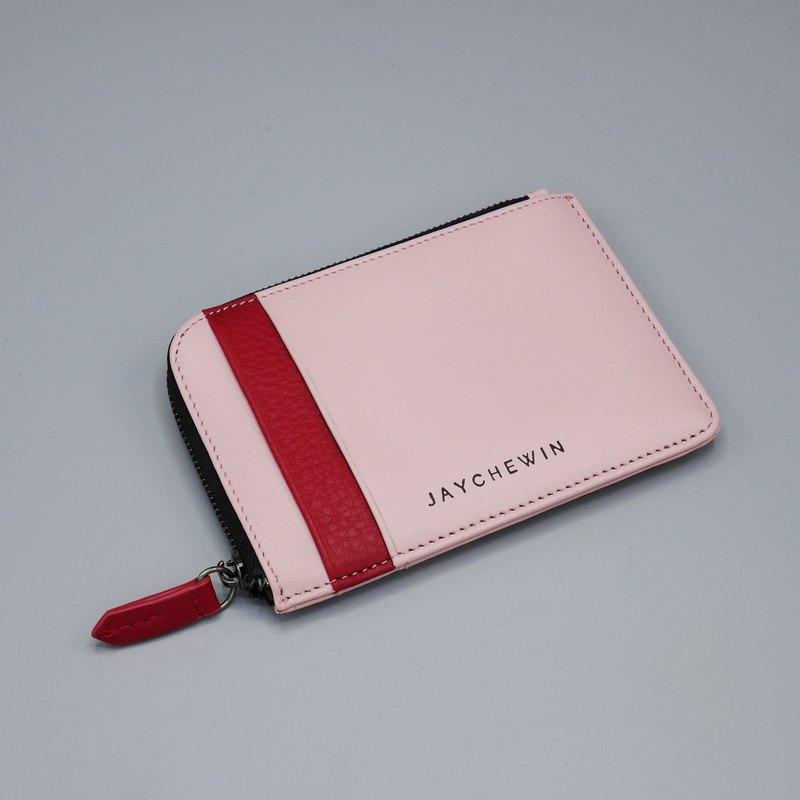 真皮拉鏈短夾 / Flat Wallet / Sakura Pink