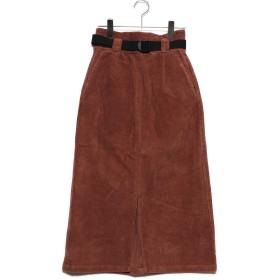スタイルブロック STYLEBLOCK コーデュロイベルト付きタイトスカート (ブラウン)