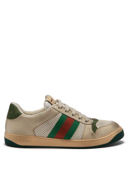 Gucci - Screener Distressed Leather Trainers - Mens - White Multi