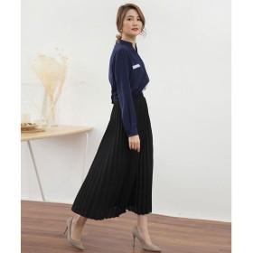 ドゥー ベル Doux Belle 揺れる裾が美しいプリーツスカートロングマキシ (ブラック)