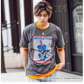 【SHIFFON:トップス】163(イチロクサン) プリントデザインTシャツMINION(ブラック/ホワイト)