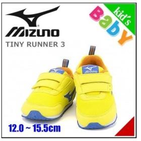 ミズノ 女の子 キッズ ベビー 子供靴 スニーカー タイニーランナー 3 ゆったり 発育インソール 脱ぎ履き簡単 TINY RUNNER 3 mizuno K1GD1532 バナナイロ