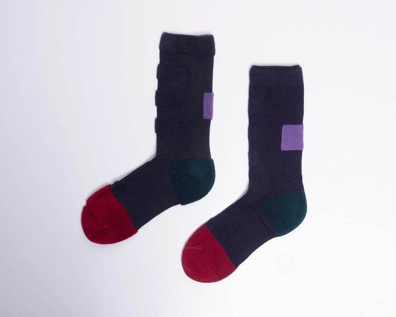 內在美系列 - 想 深藍色 雙面中筒襪 Reversible Socks