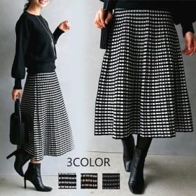 きれいめ ウエストゴムチェック柄ニットスカート 韓国ファッション/ワンピース/セーター/ニット