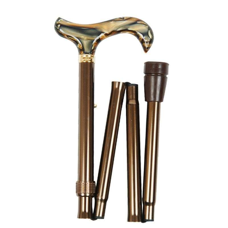 可摺疊收納+調整高低手杖-4619B 咖啡紋大理石手杖-4619B