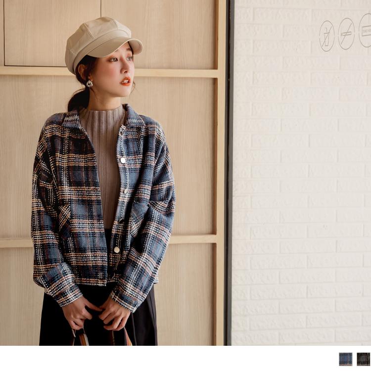 格紋落肩排釦短版外套