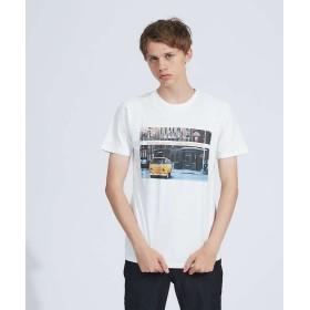 アバハウス FLENCH PHOTO プリント半袖Tシャツ メンズ オレンジ 46 【ABAHOUSE】