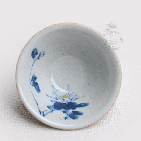 粗陶純手繪鬥笠茶杯青夢四君 功夫茶杯 陶瓷茶杯(一個價)(圖二)(菊)