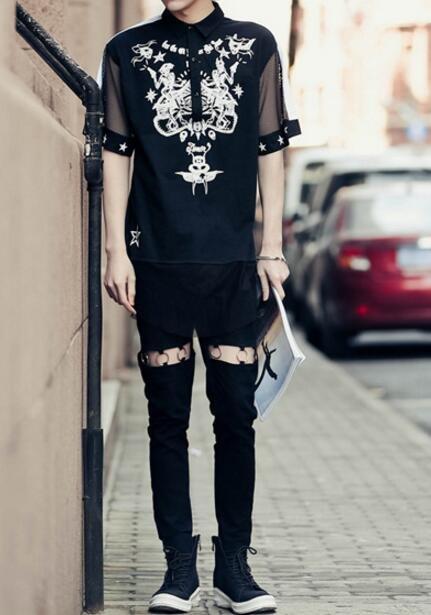 FINDSENSE品牌 男 時尚 街頭 潮 特色圖案印花 網紗拼接 襯衫領 寬鬆 短袖T恤 特色T恤
