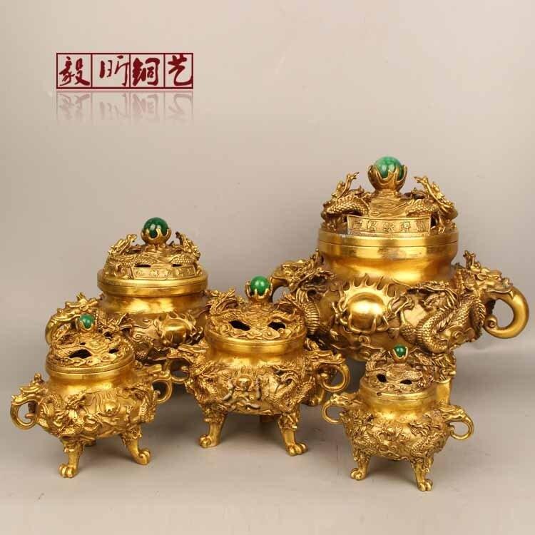[銀聯網] 銅雕純銅香爐擺件九龍香爐 1入