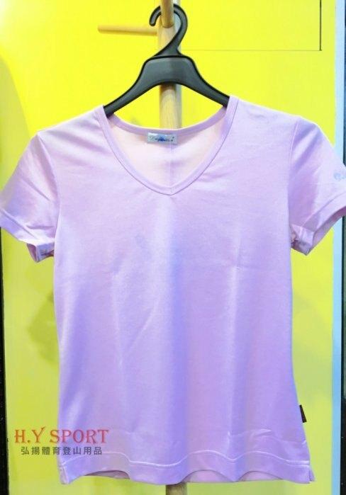 【H.Y SPORT】DRY-WET-TEX 多且5200s 雞心領短袖排汗衫 粉紫 [抗紫外線排汗衣,隨身型除濕機]
