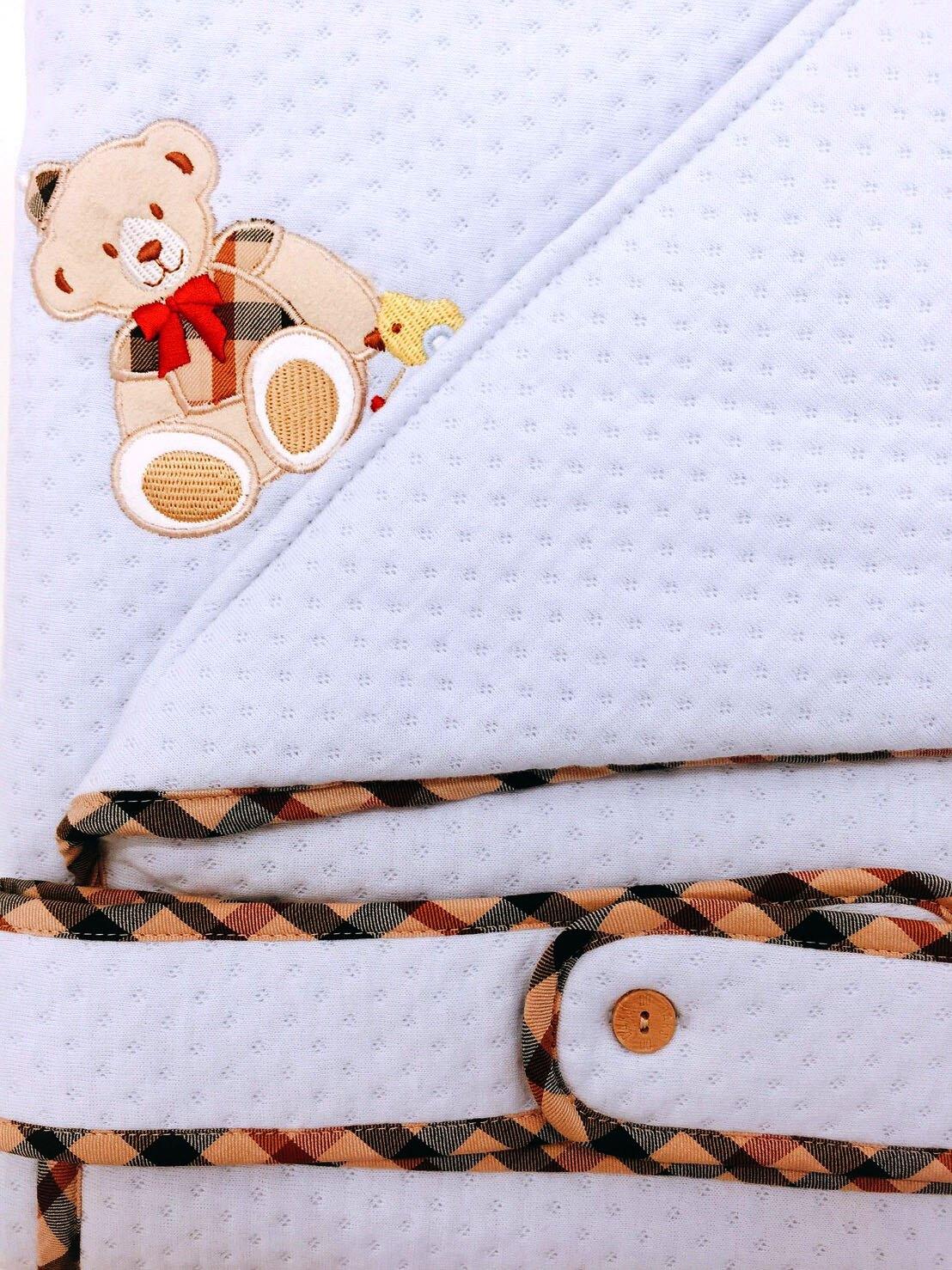 【限量破盤5折】英國【DAKS】MIT經典純棉緹花小蓋被/包巾(水藍色)