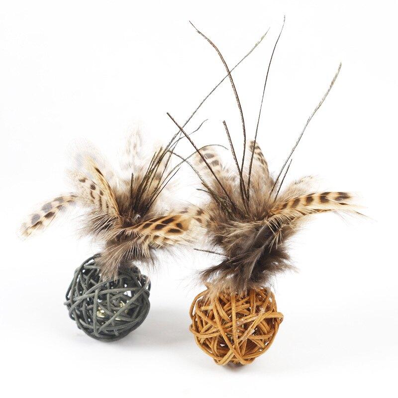 藤球羽毛貓用玩具2色