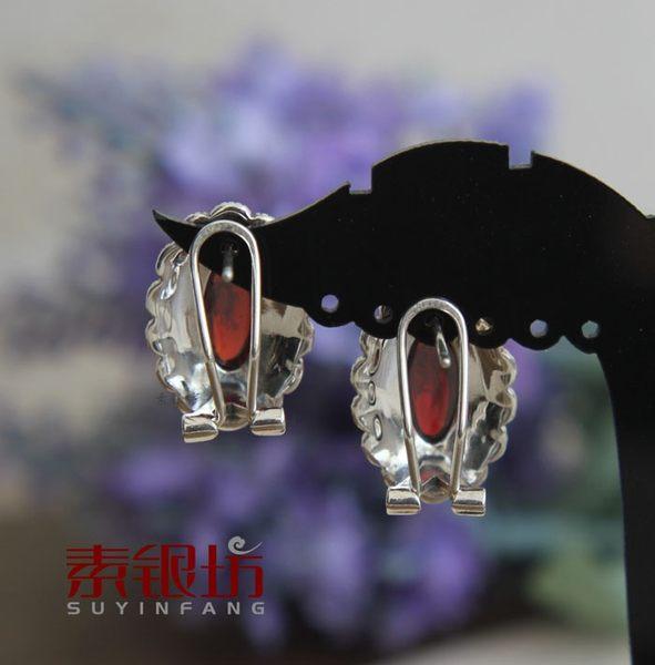 素銀坊~925純銀格 複古玫瑰花紅水晶耳扣女-太陽   (一對)