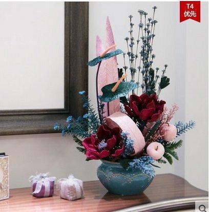 知根仿真花套裝客廳假花歐式整體花藝高檔絨布玉蘭擺放餐桌花(圖一)