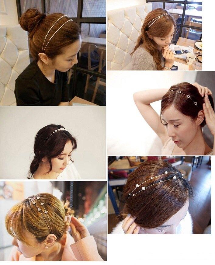 水鑽頭髮飾品 細頭箍 珍珠 蝴蝶結 76560