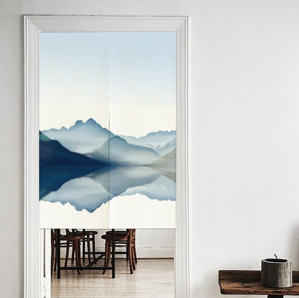 可愛時尚棉麻門簾E75 廚房半簾 咖啡簾 窗幔簾 穿杆簾 風水簾 (65cm寬*90cm高)