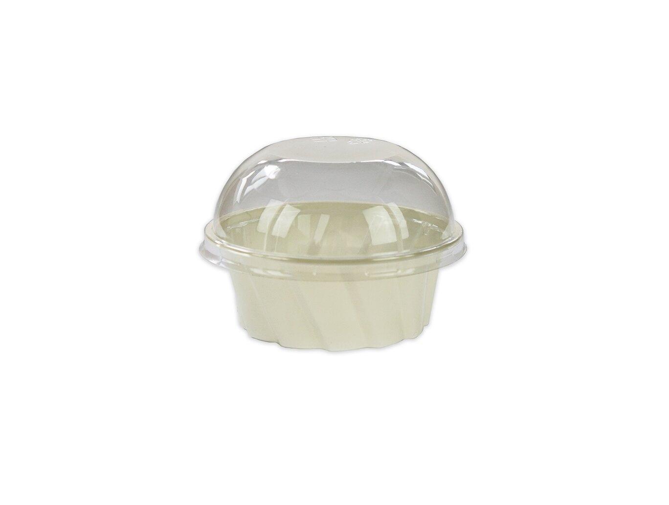 【BST01】慕斯杯、甜品杯、奶酪杯、PET杯、斜紋杯(米白色)(50個+蓋)
