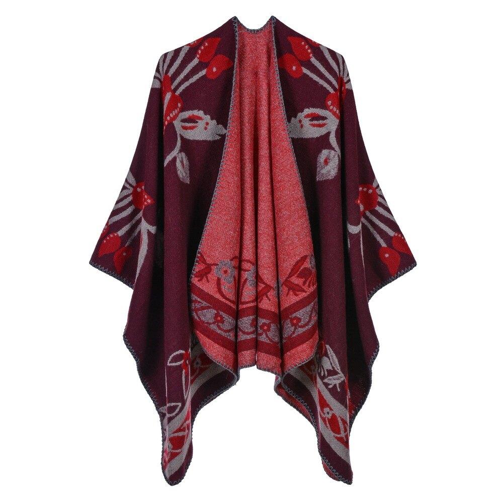 披肩仿羊絨斗蓬-花朵包邊雙面禦寒女圍巾5色73we29【獨家進口】【米蘭精品】