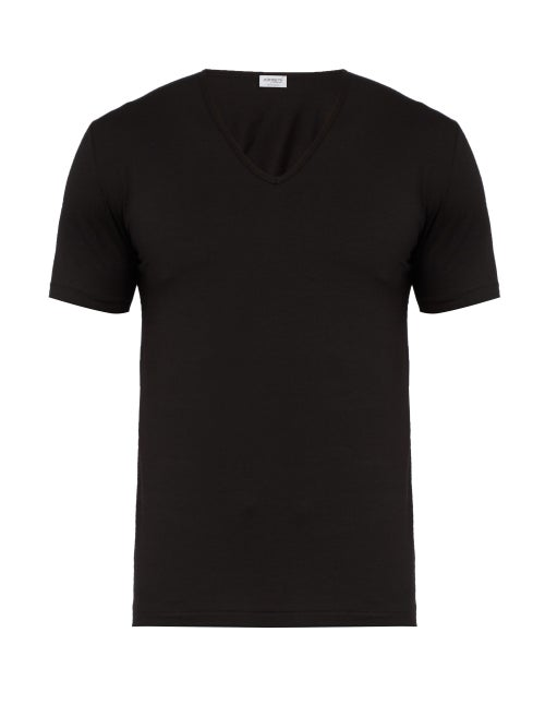 Zimmerli - Pure Comfort Stretch-cotton T-shirt - Mens - Black